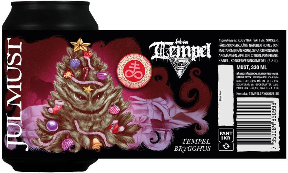 Tempel Julmust burk med etikett